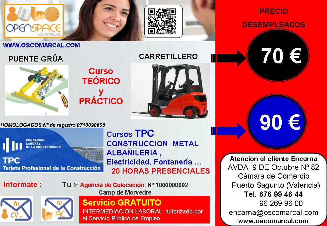 Carnet de carretillero en valencia gratuitos para desempleados