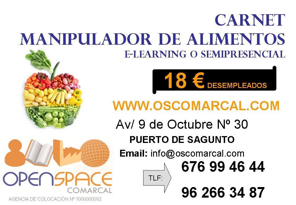carnet de manipulador de alimentos 18€ puerto sagunto valencia